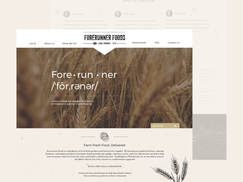 Forerynner foods wheal foodwebsite food fore webs creative website web  design
