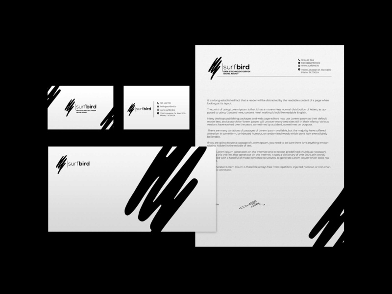 Surfbird full branding handdrawn handwritten designer graphic creative agency brand logo