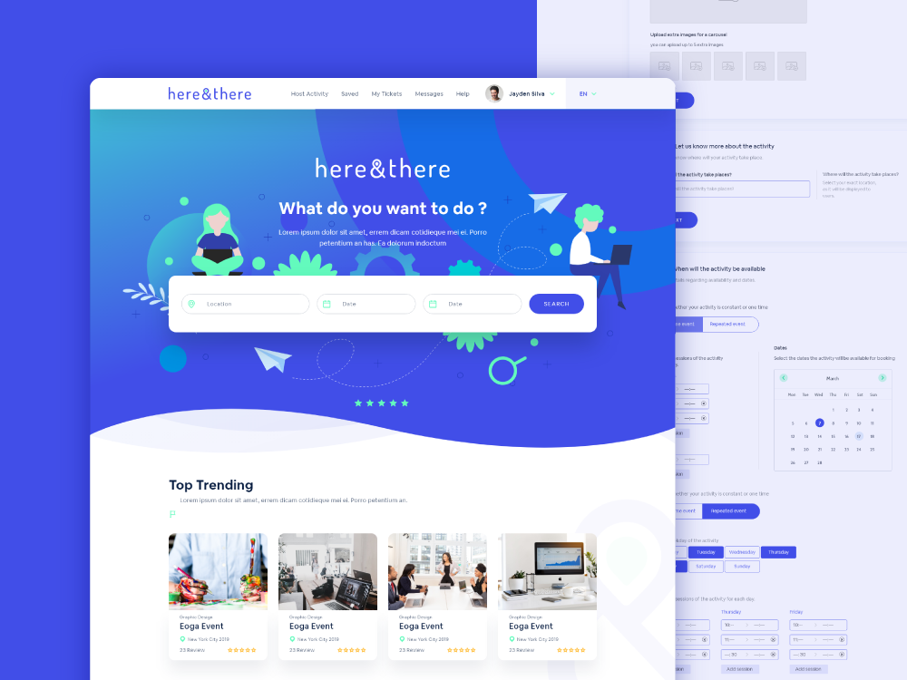 here and there web design creative agency designer illustrations webs flat design web