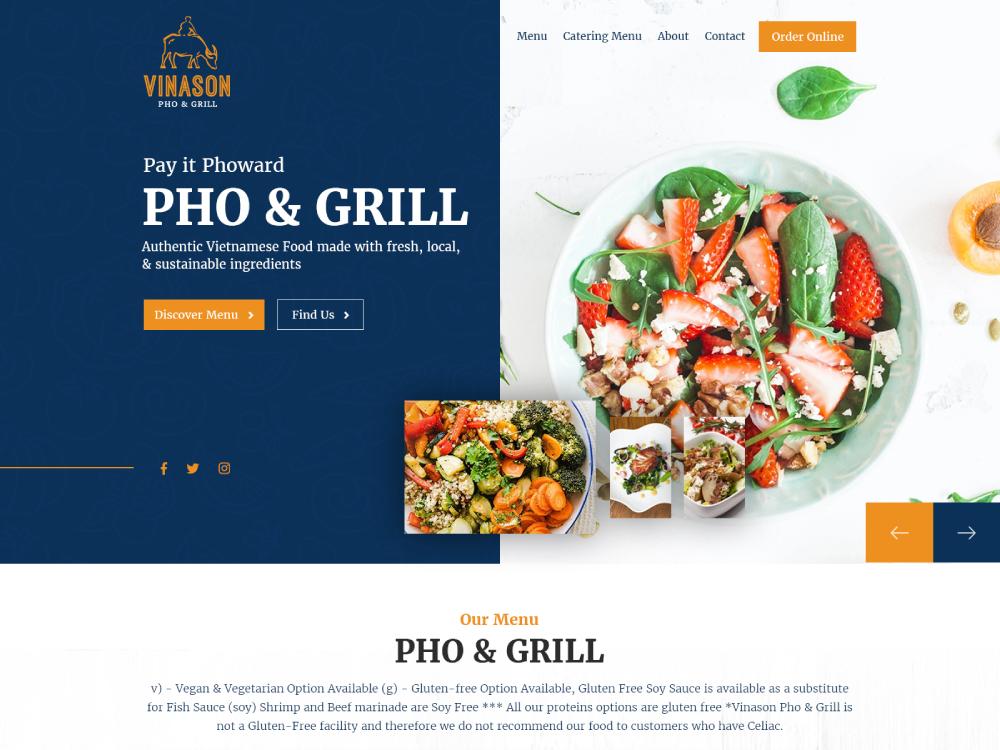 Vinason Food Web Design food app foods food webdesign ui web illustration design website creative creative agency