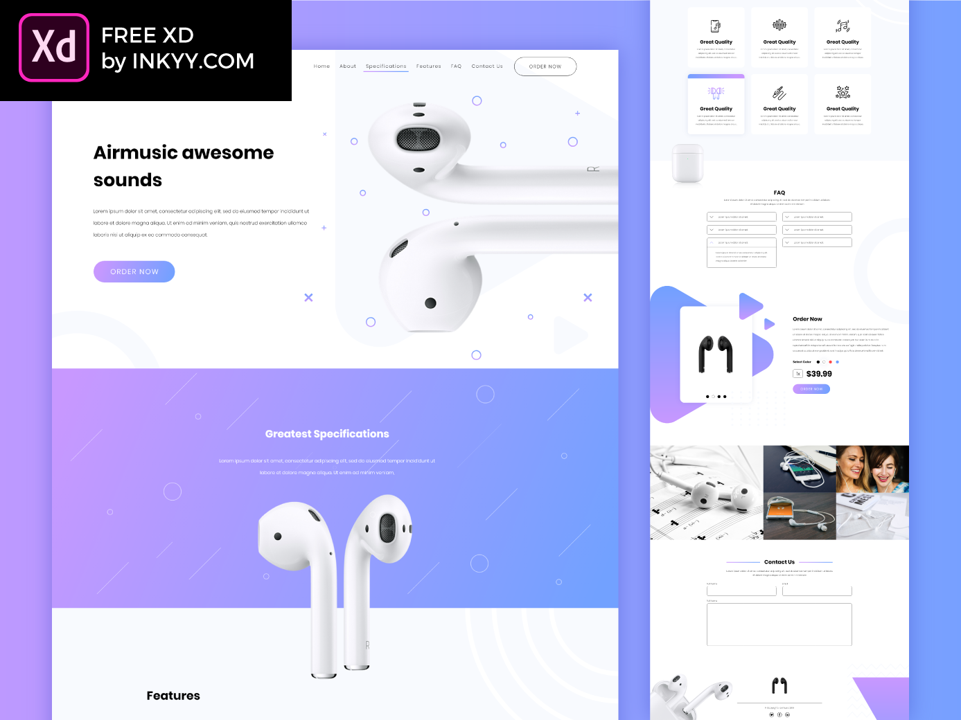 Music Website Template free XD by inkyy on Dribbble