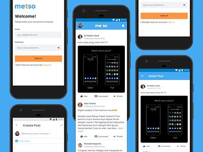 Metso Apps - Design & Code figma figmadesign react native code uxdesign uidesign ui  ux uiux ui mobile app design mobile design mobile ui social app social media socialmedia