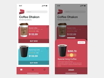 Dhakon Coffee Shop shop homepage mobileapp mobile uiux coffee flat app icon typography ux vector branding ui design adobexd