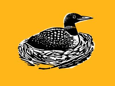 Loon in Nest Linocut