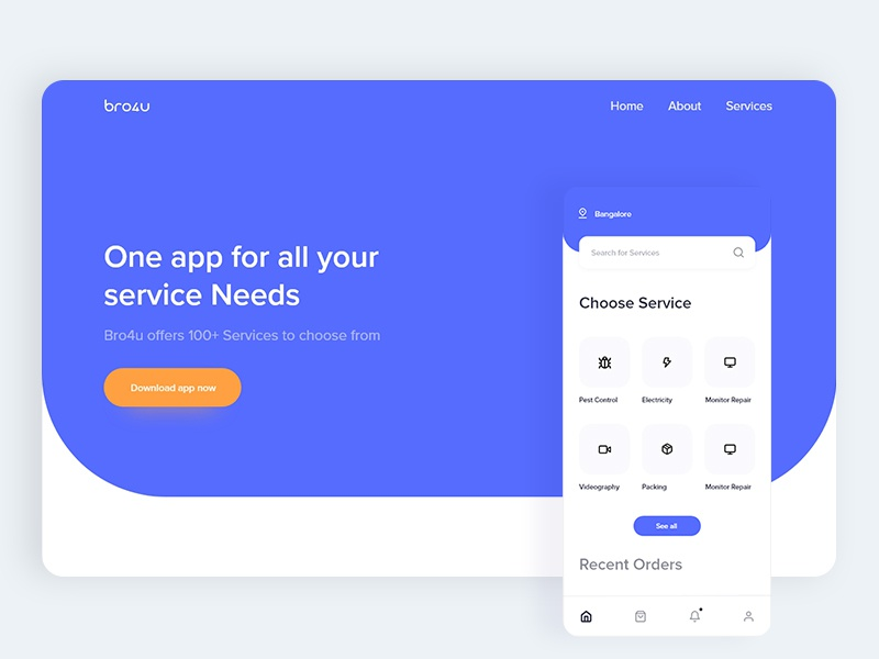 Bro4u Home page daily ui minimal website bro4u app home services design ux ui