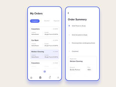 My Orders ios app screens animation order summery page myorders design ux ui