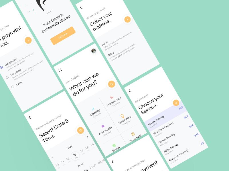 Saverz app prototype minimal classisc form application home services design ux ui