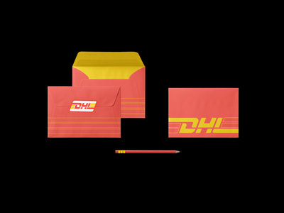 DHL Redesign yellow red modern mailing mail delivery redesign mockup packaging stationery design branding brand logo