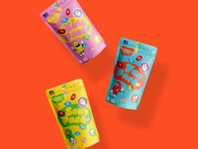 Jelly Belly Redesign sour fun bag packaging character brand colorful kids food candy bean jelly logo