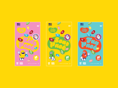 Jelly Belly Redesign redesign modern bean jelly package character colorful kids sour fun sugar candy branding brand logo