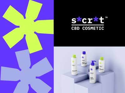 secret organic healthy cosmetic label packaging strong bold color neon vector design modern cannabis cbd weed logo branding brand