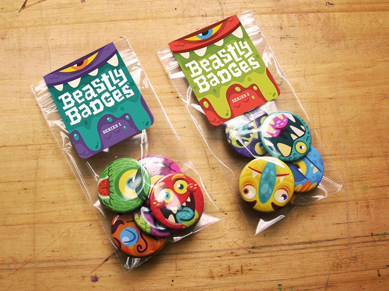 Beastly Badges Package monsters illustration buttons