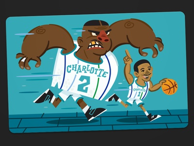LJ & Muggsy (again for the first time, part 2: the beginning) basketball illustration promo hornets postcard charlotte
