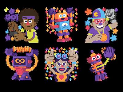 bot games stickers illustrations character emoji avatar illustration