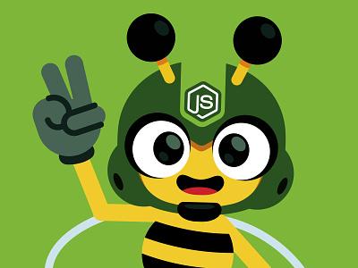 Node Bee! vector mascot character illustration