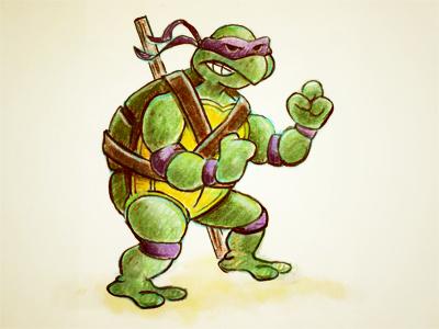 Donny turtle 80s cartoon character illustration pencil teenage mutant ninja turtle