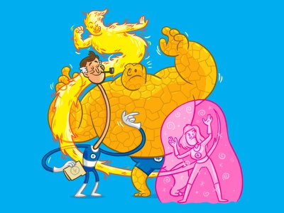 FF cartoon comic marvel fantastic four pink force field ben