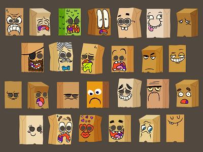 Bag Yourself cartoon faces paper bag emoji facebook