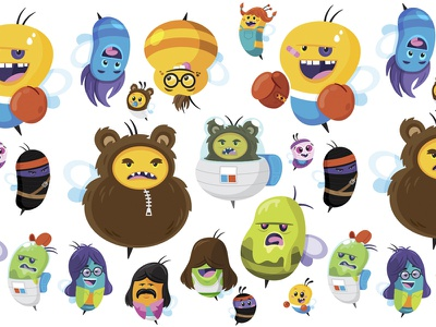 All the bees mascot cartoon avatar bees characters