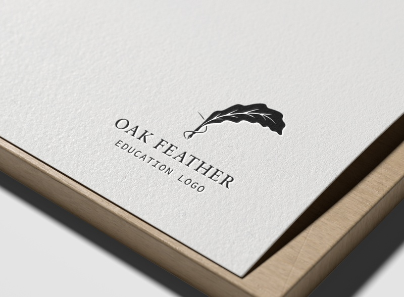 Oak Feather Education Logo feather pen logo elegant logo oak feather education logo