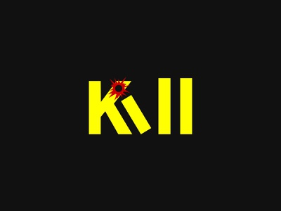 Kill Wordmark Logo! murder bullet slay modern logo kill wordmark logo