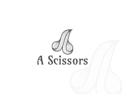 A Scissors! hair style logo illustration hand drawn logo a scissors