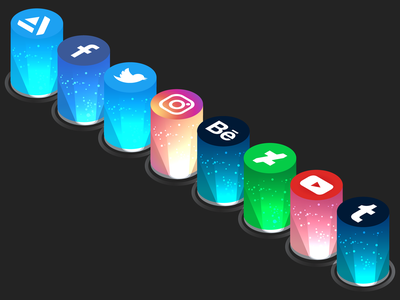 Isometric Social Media Icons social buttons social abstract illustrator isometric illustration vector design