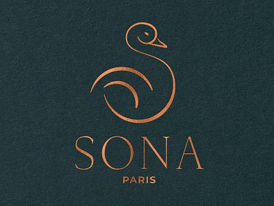 Sona Logotype golden dress paris fashion luxury symbol bird logotype logo sona