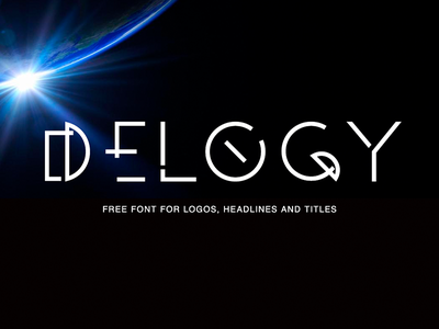 Delogy Free Font constructivism space cosmos technology line future font free delogy