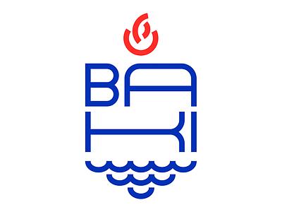 Coat of Arms of Baku city type typography azerbaijan fire sea logotype logo city baku coat of arms