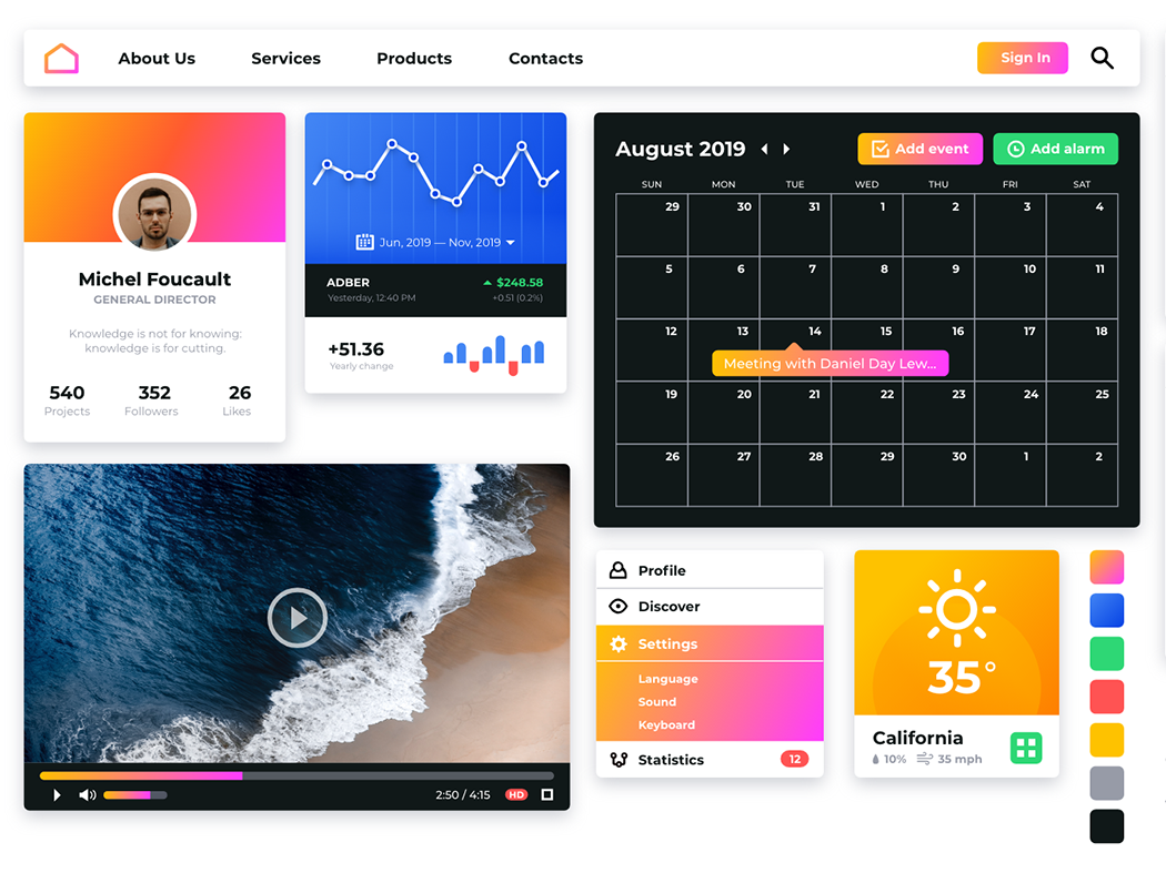 Pipl UI Kit for Adobe XD / FREE app web design interface gradient web ui pack widgets ui  ux design ui adobe xd