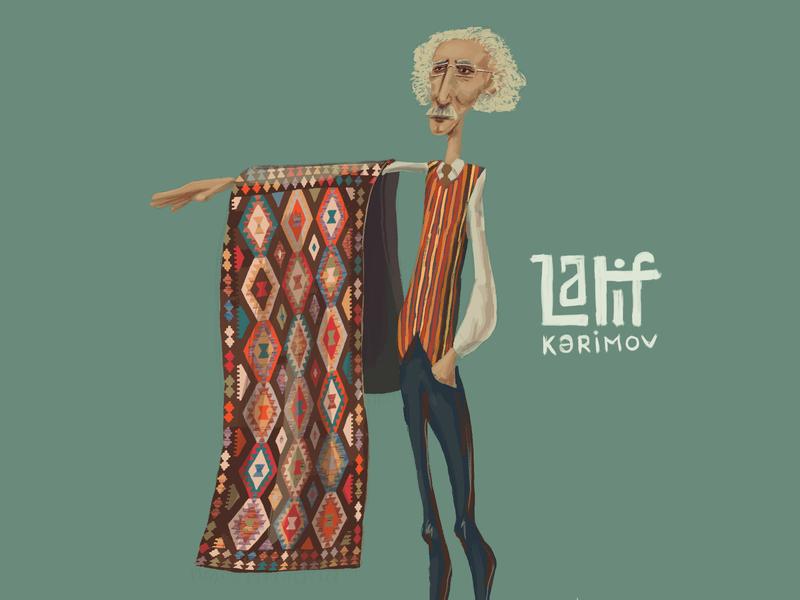Carpet Designer colorful design shusha baku latif karimov old man character ornament designer illustration rug azerbaijan carpet