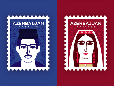 Azerbaijan Postage Stamp face flat portrait illustration portrait airmail postage stamp postage costume traditional baku azerbaijan