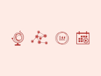 Circling Europe Icons quote molecules globe calendar illustration circle pink red icons