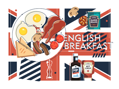 English Breakfast 🍳 beans baked eggs sausages bacon brown sauce hp sauce breakfast english uk england art book recipe logo adobe illustrator illustration design vector