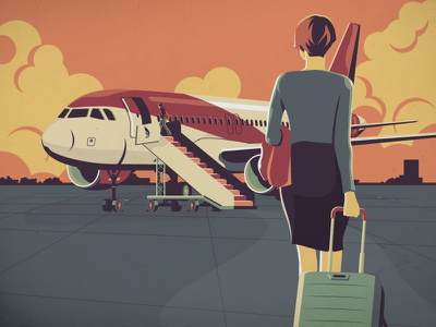 🛬 Flight bristol uk design adobe illustrator illustration vector woman siutcase fly travel airport planet