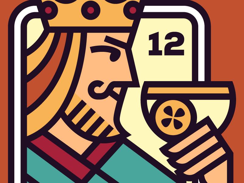 King of Cups  👑🍷 copas deck of cards king of cups logo illustration design vector illustrator