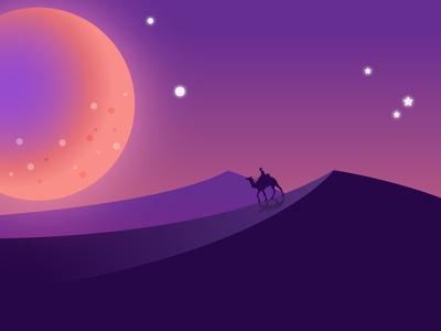 """Walk like a Camel"" Night Landscape"