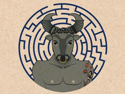 Minotaur tattoos minotaur bull labyrinth graphics design digital greek mythology illustration
