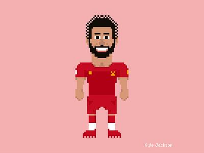 8-Bit Athletes: Mo Salah bit mo illustrator kit ynwa concept game retro vintage illustration art salah lfc liverpool soccer football design branding adobe 8bit