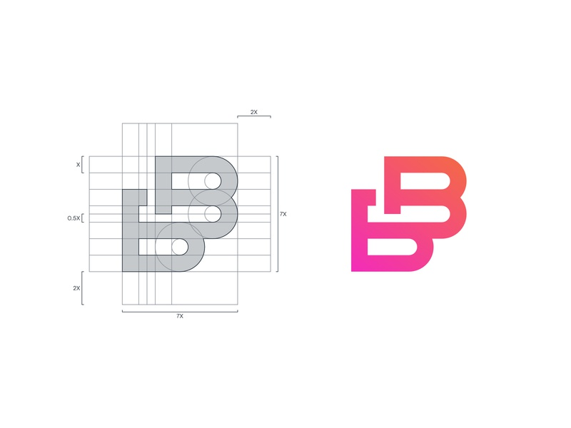 Beauty Bar - Logo Grid nail saloon nails nail orange gradient pink gradient gradient grid design grid layout grid logo grid logo process logo beauty salon beauty logo beauty bb lettermark letter b logo b