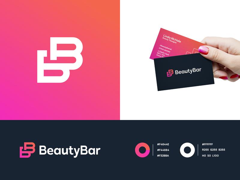 Beauty Bar - Brand Identity beauty salon nail salon pink gradient gradient letters lettermark spa logo spa beautiful beauty logo beauty nail business card design business cards businesscard brand identity branding brand b logo b