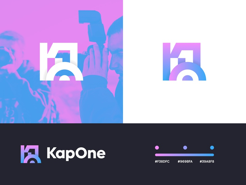 Kap One - Brand Identity photography logo photo logo photo camera app camera color codes pink and blue pink gradient guidelines brand guidelines brand identity gradient logo gradient k logo logomarks logo design logo logomark pink