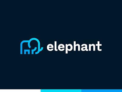 Elephant - Logo Deisgn logo colors dark logo smart design smart logo logotype logo design logo modern logo blue and white blue gradient gradient blue logo blue elephant logo elephant animal illustration animal logo animal art animal