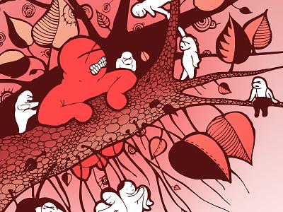 Emolitions illustration ink red forest jungle creatures