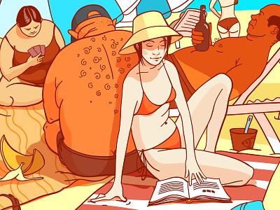 The beach illustration ink beach orange red vector girl sarcasm