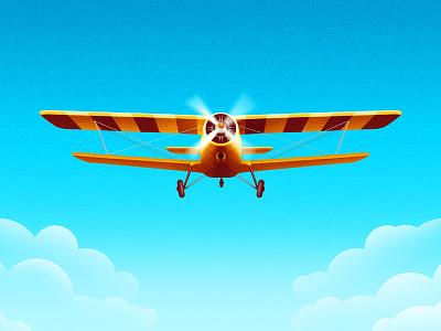 Plane art deco plane illustration bee stripes oddbee sky clouds