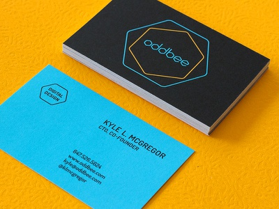 Oddbee Business Cards business cards yellow blue teal hexagons bees plane design graphic design branding