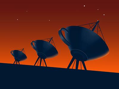 Illustration for Marketing Agency marketing illustration design orange art deco cups satellite dish space connection
