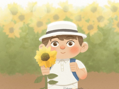 Little Man character children book illustration childrens book childrens illustration warm sunny sunflowers kidlitart kids illustration kid children illustration